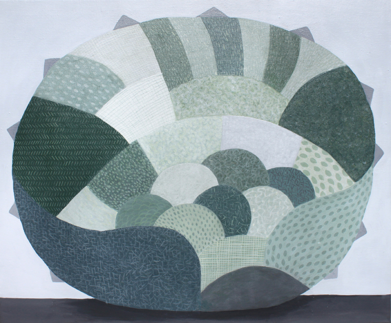 Oakenfull Judy_Green Grey Cluster_2016_51x61cms_Acrylic on canvas