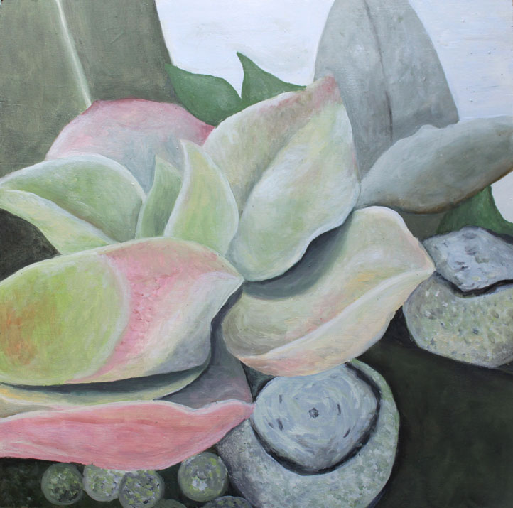 Pink Green Succulent 2017 Oil painting