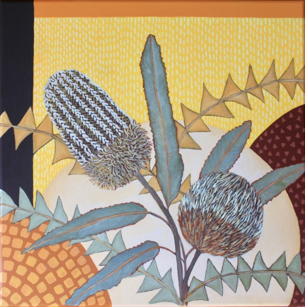 Banksias with abstract pattern painting oil botanical