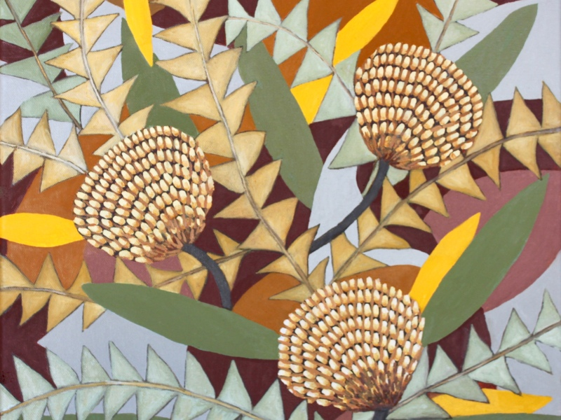 Oil painting banksias botanical