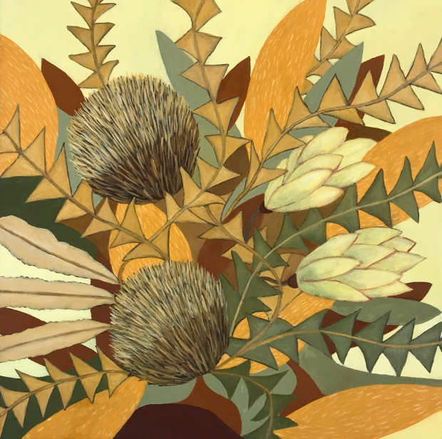 Painting of Banksias and Leucadendrons