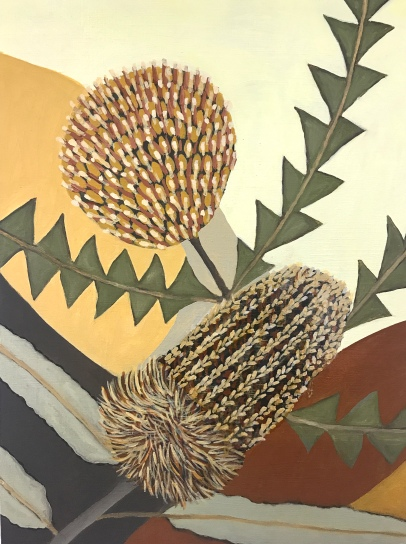 Small painting of Banksias abstract