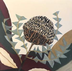 Oil painting Banksia botanical abstract modernist