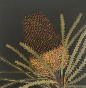Red Brown Banksia painting oil paint on board